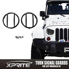 Black Light Guard For Front Turn Signals Steel Cover 07-17 Jeep Wrangler JK