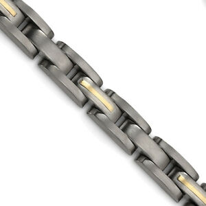 """Chisel Titanium with 14k Yellow Inlay Accent Bracelet 8.5"""""""
