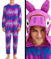 Fortnite Union Suit Loot Llama Men's Large Pajamas Costume Womens New Zip Up