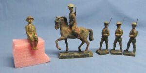 Lot of Six Vintage Lineol Germany Infantry  Soldiers with Horse