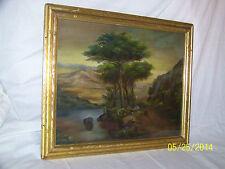 Hudson River School Landscape Original Oil On Canvas c19th Carved Wood GoldFrame