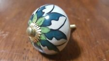 Hand-made Hand-painted Ceramic Drawer Knob - Blue & green flowers - S6