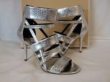 Michael Kors 6.5 M Shiloh Silver Leather Open Toe Heels New Womens Shoes NWOB