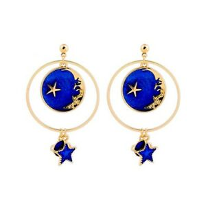 4 style. Blue enamel Drip glaze universe Earth moon star earring jewelry Luxury