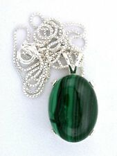 """Highdome Oval African Malachite Cab Sterling Silver Pendant 18"""" Italian Chain"""