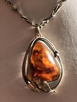 39gr Vtg Silver Baltic Amber Butterscotch Cognac Teardrop Pendant Necklace 2.25""