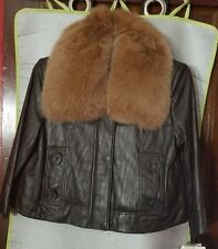 Genuine Brown Leather Jacket with Fox Fur Collar by Peter Nygard, Size S, NWT