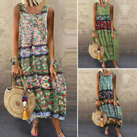 UK Women Sleeveless Round Neck Baggy Long Maxi Floral Dress Ladies Summer Beach