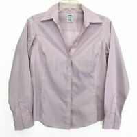 Brooks Brothers Fitted Non Iron Stretch Blouse Sz 10 Pink V Neck Long Sleeve