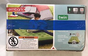 Embark Twin Air Bed + ElectricPump&Bag-Non-slipTop. Open Box-NEW INSIDE/UGLY BOX