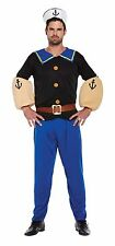 Adult Sailor Man Fancy Dress Costume Sea Nautical Outfit Popeye Theme - Blue