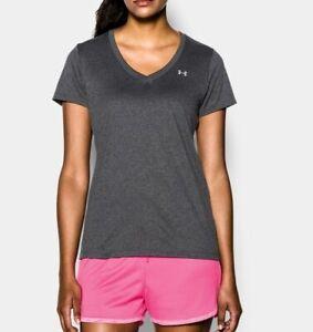 UNDER ARMOUR HeatGear v-neck women's T-shirt - Charcoal- SMALL