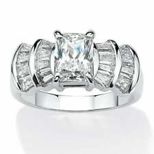 Women's Engagement Ring 925 Silver 3.10Ct Emerald Radiant Cut Cubic Zirconia