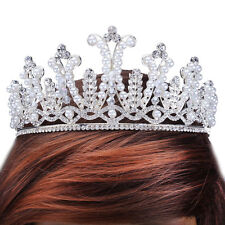 Baroque Pearls Tiaras Headpiece Clear Crystal Rhinestone Crown Prom Head Jewelry