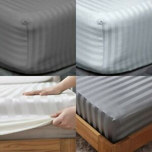 Extra Deep 40cm Fitted Sheet Satin Stripe 100% Egyptian Cotton 600TC All Sizes