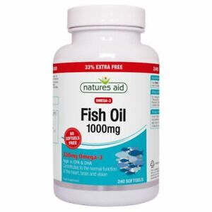 Natures Aid Fish Oil 1000mg Omega 3 Made In The Uk, 240-Capsules Free Delivery