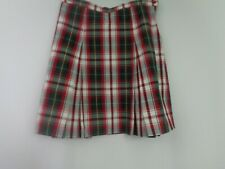 Becky Thatcher Skirt Uniform 14 Girls Red Green White Yellow Plaid Pleated