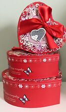 Holiday Heart Shape Christmas Valentines Gift �Boxes Stackable 3 Piece Set $30