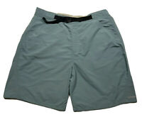 ⭐️Cabelas Hiking Swim Shorts Trunks Omni-Shade Nylon Green/Blue Belted Mens 2XL✨