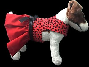 Red and Black Fleece Lined  Doggie Dress with Satin Bow and Jeweled Crystal Orna