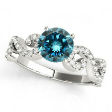 0.83 Ct Round Blue Diamond SI2 Solitaire Engagement Ring Stunning 14k White Gold