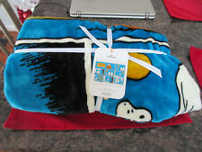 Snoopy Peanuts Halloween Blue Throw Blanket New Tags 50x60 Hallmark Super Soft