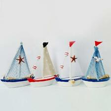 Wooden Nautical Home Sailboat Decoration Sailing Ship Tabletop Decor Pack of 4