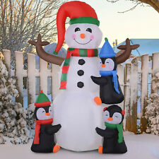 1.8m Inflatable Christmas Decoration Snowman Three Penguins LED Lighted Outdoor