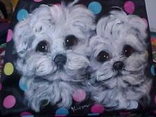 MALTESE PUPPIES HAND PAINTED TOTE BAG THE BEST MALTESE PAINTINGS  ON EBAY!!