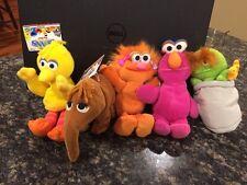 Lot Of 5 Tyco Sesame Street Bean Bag Plush Big Bird Zoe Telly Oscar Snuffy NWT