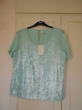 Stunning Designer Shirt Sleeved Glazed Sequin Top by Monsoon Size M BNWT