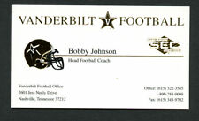 Bobby Johnson signed autograph Vanderbilt Football Coach Business Card BC191
