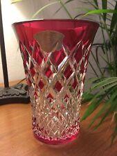 VAL ST LAMBERT - Vase doublé rouge/rubis - taillé et signé