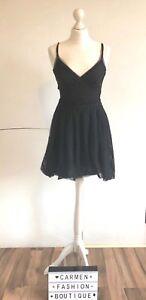AUTHENTIC COS BLACK NET FRILLS PARTY DRESS EU 36 UK 10 US 6 SMALL!