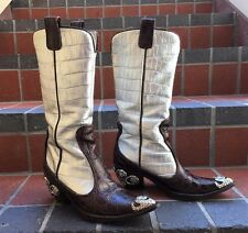 Vicini by Giuseppe Zanotti Embellished Italian Crocodile Leather Boots Size 36.5