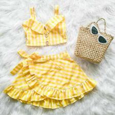 Baby Clothing Toddler Kid Baby Girl Plaid Vest Crop Top Off Shoulder Skirt 2Pcs