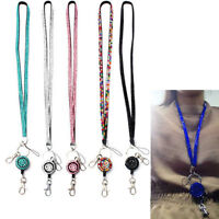 Portable ID Badge Retractable Strap Reel Key Holder Cute Neck Rhinestone Lanyard