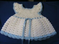 WHITE SHELLS~BLUE TRIMS CROCHET BABY DRESS NEWBORN 0-3 mos BLUE FLOWER buttons