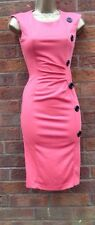 Womens Pink Bodycon Wiggle Pencil Evening Dress Party Cocktail UK Size 16