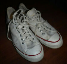 VINTAGE 1960'S CONVERSE CHUCK TAYLOR BLUE LABEL WHITE SHOES 10.5 MADE IN USA L@@
