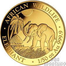 2017 SOMALIA GOLD ELEPHANT - 1/50 oz 24k Coin in Capsule African Wildlife .9999