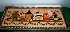 BENT CREEK HALLOWEEN MANTLE COMPLETED CROSS STITCH PICTURE FRAMED OWL WITCH