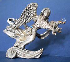 Pewter Winged Flying Angel Fantasy Figurine Sunglo DeNicolo Blue Crystal 1995