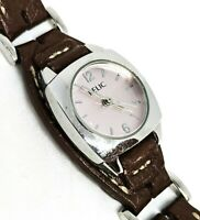 Relic by Fossil genuine leather band brown and pink women's watch