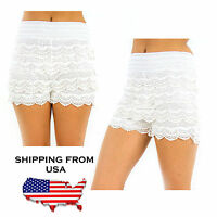 Korean Womens Sweet Cute Crochet Tiered Lace Shorts Skorts Short Pants Fashion