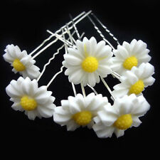 WHITE DAISY HAIRPINS - SET OF FIVE HAIRPINS - BRAND NEW