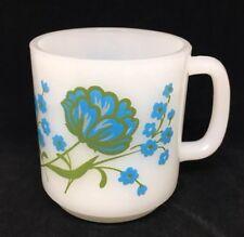 Vintage Milk glass Glasbake Blue Flowers Milk Glass Mug green Coffee Mug