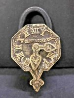 OLD VINTAGE RARE HAND CARVED CLOCK SHAPE BRASS  PADLOCK WITH KEY