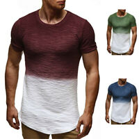 Slim Fit Men's Gradient T-shirt Tops Short Sleeve Body Muscle Casual Tee Blouse
