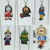 Retro 'Muppet' Character Pendant Silvertone Necklaces - Six Characters